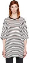 R 13 Black and White Striped Boyfriend T-shirt