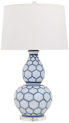 Port 68 Kenilworth Double-Gourd Table Lamp - White/Blue