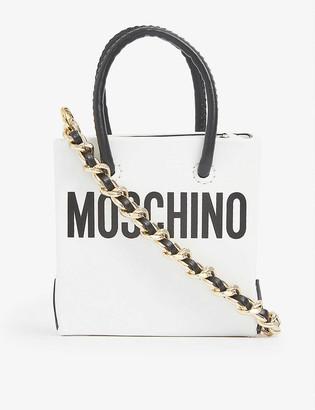 Moschino Logo-print mini leather shopper bag