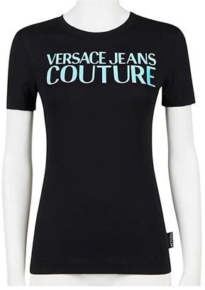 Versace Short Sleeve Hologram Logo T-Shirt (Black) Women's Clothing