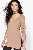Boohoo Lily V-Neck Rib Knit Jumper
