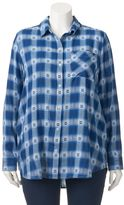 Mudd Juniors' Plus Size Plaid Tunic Shirt