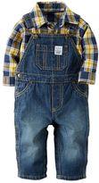 Carter's Baby Boy Plaid Bodysuit & Denim Overalls Set