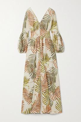 PatBO Palmeira Printed Crochet-knit Maxi Dress - Leaf green