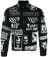 R 13 graffiti-effect denim jacket