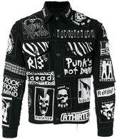 R 13 graffiti-effect denim jacket