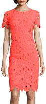 Donna Ricco DR Collection Short-Sleeve Lace Sheath Dress