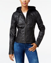 Maralyn & Me Faux-Leather Hooded Moto Jacket