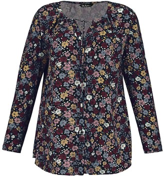 Ulla Popken Floral Print Blouse with Tie-Neck and Long Sleeves
