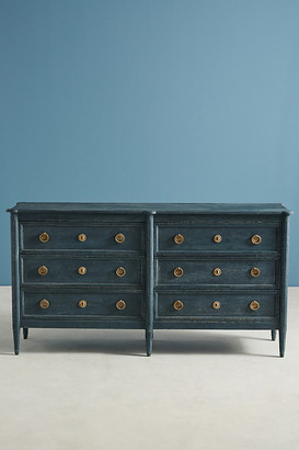 Anthropologie Washed Wood Six-Drawer Dresser By in Blue Size S