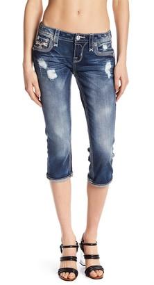 Rock Revival Fleur-de-Lis Button Capri Jeans