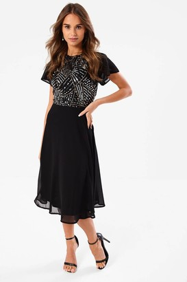 Simona Iclothing iClothing Sequin Top Occasion Dress in Black