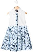 Oscar de la Renta Girls' Pleated Leaf Print Dress