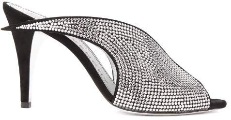 Givenchy Crystal-embellished Suede Mules - Womens - Black Silver