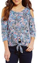 Bobeau Cold-Shoulder Paisley Print Tie-Front Top