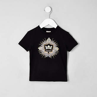 River Island Mini boys Black logo embellished T-shirt