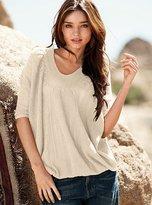 Cotton featherweight dolman-sleeve v-neck sweater