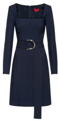 HUGO BOSS Regular Fit Dress With D Ring Belted Waist - Dark Blue
