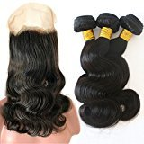 360 Lace Frontal Closure With Bundles Unprocessed Virgin Brazilian Hair Bundles With 360 Degrees Lace Frontal Closure Pre Plucked Natural Hairline with Baby Hair Body Wave Sew In Hair Extensions