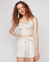 Express high waisted striped side tie linen-blend shorts