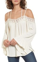 Sun & Shadow Women's Crochet Trim Off The Shoulder Top