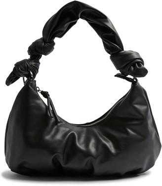 Topshop Knotted Half Moon Faux Leather Shoulder Bag