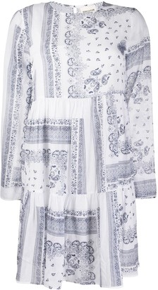Semi-Couture Paisley Print Tiered Dress