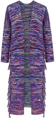 You By Tokarska Frida Long Cardigan With Fringed Multicolour Navy