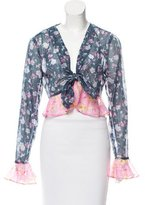 Anna Sui Cropped Floral Cardigan
