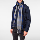Paul Smith Men's Navy 'Bright Check' Wool Scarf