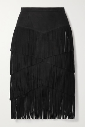 Michael Kors Collection Fringed Suede Midi Skirt - Black