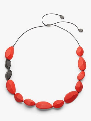 One Button Resin Teardrop Long Necklace, Red
