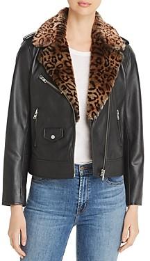 MKT Studio Vadlou Faux Fur Trimmed Leather Moto Jacket