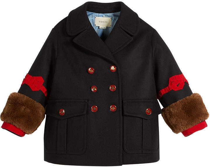 26c88b08 Double-Breasted Wool w/ Faux-Fur Cuffs, Size 4-12