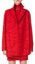 Akris Notch-Collar Tiger-Print Coat, Red