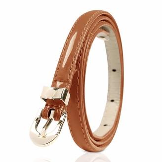 DORRISO Fashion Ladies Leather Belt Metal Buckle Ultra-thin 1.2 cm Wide Waist Women Belt Brown