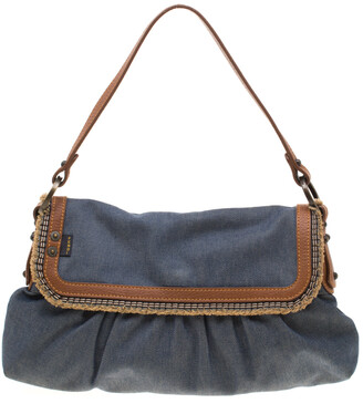 Fendi Blue Denim Chef Shoulder Bag