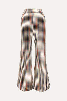 A.W.A.K.E. Mode Checked Cotton-blend Twill Flared Pants - Green