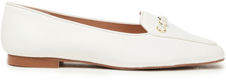 Stuart Weitzman Rosie Faux Pearl-embellished Leather Loafers