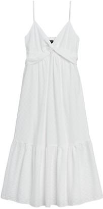 Banana Republic Petite Textured Cotton Twist-Front Maxi Dress