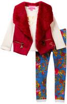 Betsey Johnson Heart Tee, Faux Suede & Faux Fur Vest & Floral Knit Denim Jegging Set (Little Girls)