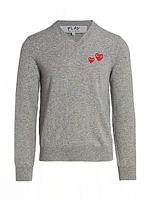 Comme des Garcons Men's Double Heart Wool Pullover
