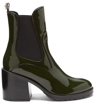 Fabrizio Viti Madison Patent-leather Chelsea Boots - Khaki