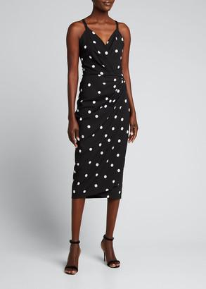 Dolce & Gabbana Polka Dot Cady Faux-Wrap Midi Dress
