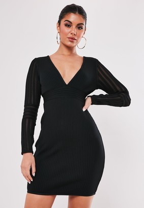 Missguided Premium Black Bandage Long Sleeve V Neck Mini Dress