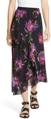 Fuzzi Floral Ruffle Asymmetrical Midi Skirt