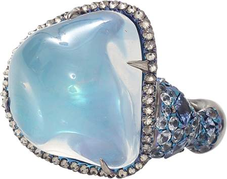 Arunashi Water Opal And Sapphire Ring