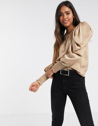 Vero Moda satin blouse with volume sleeve in beige