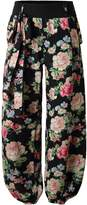 BAISHENGGT Women's Button Deco Elastic Cuff Belted Harem Pants Black-Floral