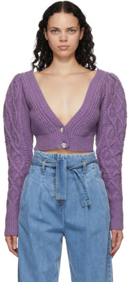 Wandering SSENSE Exclusive Purple Cable Knit Cropped Cardigan